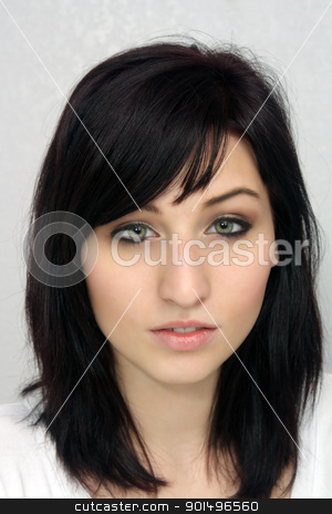 Beautiful Young Woman, Headshot (1) stock photo, A studio close-up of a lovely young woman with remarkable eyes. by Carl Stewart
