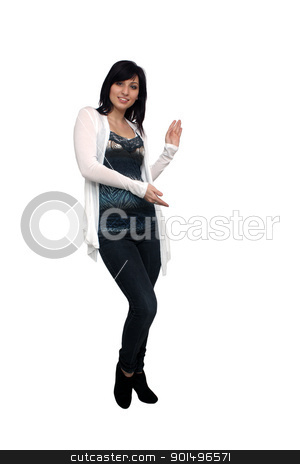 Beautiful Young Casual Hostess (1) stock photo, A full-length shot of a lovely young woman, isolated on white, pointing to your graphic or text.  Generous copyspace. by Carl Stewart