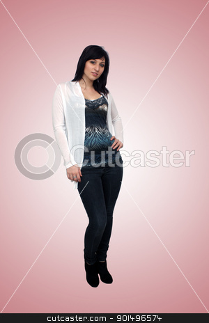 Beautiful Young Casual Hostess (4) stock photo, A full-length shot of a lovely young fashion model or hostess.  Generous copyspace. by Carl Stewart