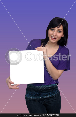Beautiful Young Casual Hostess (6) stock photo, A full-length shot of a lovely young woman, holding a blank white card for your graphic or text.  Generous copyspace. by Carl Stewart