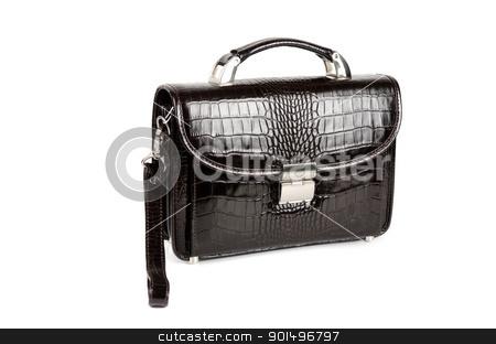 black bag stock photo, black male bag isolated on white background by olinchuk