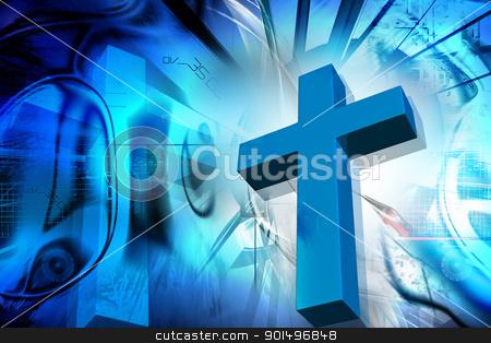 Digital illustration of  Religious sign in color background stock photo, Digital illustration of  Religious sign in color background by dileep