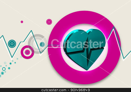 High quality 3d rendering of heart ECG in color background stock photo, High quality 3d rendering of heart ECG in color background by dileep