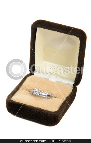 Diamond Ring in a box stock photo, A diamond ring in a box, isolated against a white background by Richard Nelson
