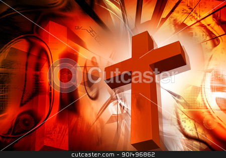 Digital illustration of  Religious sign in color background stock photo, Digital illustration of  Religious sign in color background by dileep