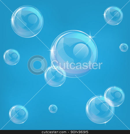 Blue bubble background stock vector clipart, A blue illustration of some bubbles that can tiled seamlessly as a background. by Christos Georghiou