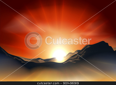 Sunrise or sunset over a mountain range stock vector clipart, Illustration of landscape with sunrise or sunset over a mountain range by Christos Georghiou