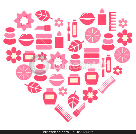 Pink abstract heart from cosmetic accessories isolated on white stock vector clipart, Stylized pink heart. Vector illustration. by BEEANDGLOW