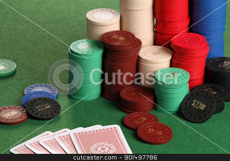 Gambling stock photo, Photo of a poker table with gambling chips and cards. by © Ron Sumners