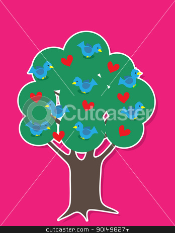 Birds in Tree stock vector clipart, A tree with thick foliage is filled with blue colored birds and red hearts, over a pink background. by Maria Bell