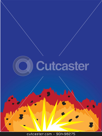Explosion stock vector clipart, A deep blue background, with a colourful explosion in the lower foreground. by Maria Bell