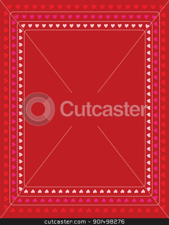 Hearts Border stock vector clipart, A red background with concentric rows of small hearts in variegated colors, bordering the page. by Maria Bell