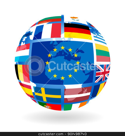 Flags of EU countries on globe stock photo, Flags of EU countries on globe sphere ball transparency by Imaster