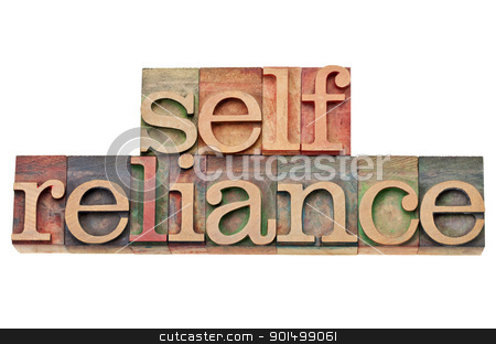 selfreliance word in letterpress type stock photo, selfreliance  -  isolated word  in vintage wood letterpress type, stained by color inks by Marek Uliasz