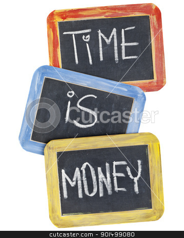 time is money on blackboard stock photo, time is money  slogan - white chalk handwriting on small slate blackboards with colorful wood frames by Marek Uliasz