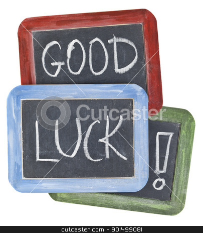 good luck wishes on blackboard stock photo, good luck wishes - white chalk handwriting on small slate blackboards with colorful wood frames by Marek Uliasz