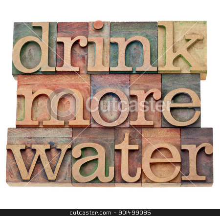 drink more water stock photo, drink more water - hydration concept - isolated text in vintage wood letterpress printing blocks by Marek Uliasz