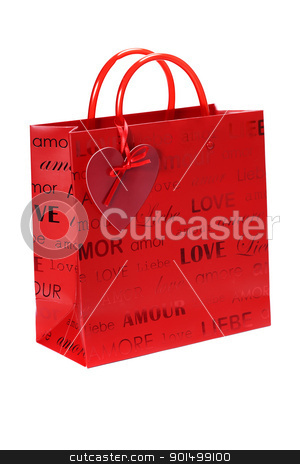 Shopping bag for Valentine's Day stock photo, Shopping bag for Valentine's Day on white background by klenova