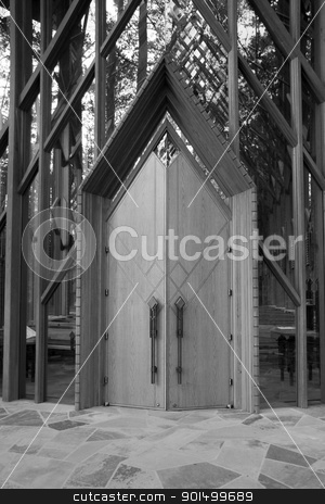 Wooden Doors stock photo, Black and white image of two wooden doors by Kevin Tietz
