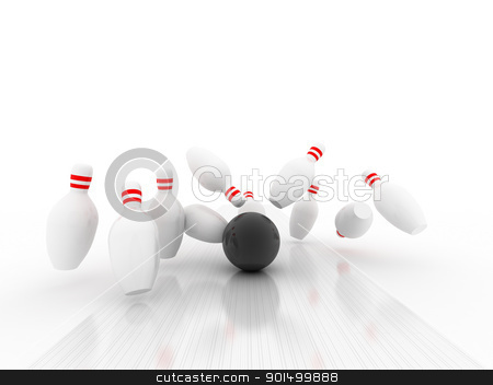 3d Bowling Ball crashing into the pins  stock photo, 3d Bowling Ball crashing into the pins  by dacasdo