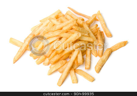 French fried potatoes stock photo, French fried potatoes on a white background by olinchuk