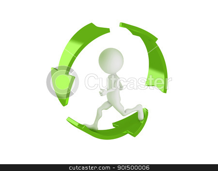 3d man running inside the recycle symbol  stock photo, 3d man running inside the recycle symbol  by dacasdo