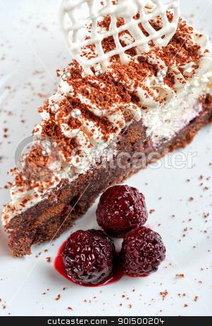 Blackberry cake slice stock photo, fresh baked Blackberry cake closeup by olinchuk