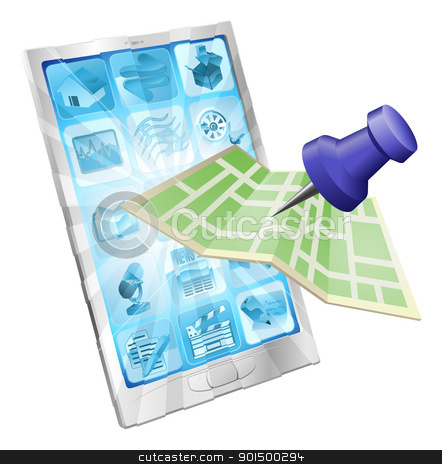 Phone map app concept stock vector clipart, A road or city map flying out of a mobile phone. Concept or icon for map app or internet website with maps or other GPS related. by Christos Georghiou