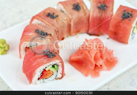 Fuji Sushi rolls stock photo, Fuji Sushi rolls made of tuna, pepper, avocado, cucumber by olinchuk