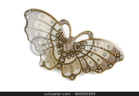 Beautiful hairpin butterfly stock photo, Beautiful hairpin-butterfly isolated on white background by olinchuk