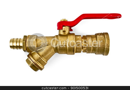 Water taps in the assembly stock photo, Water taps in the assembly with adapters made ??of brass with a red pen isolated on white background by rezkrr