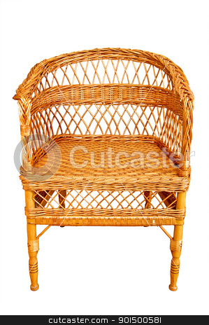 Wicker chair stock photo, Woven from wooden twigs brown armchair isolated on a white background by rezkrr