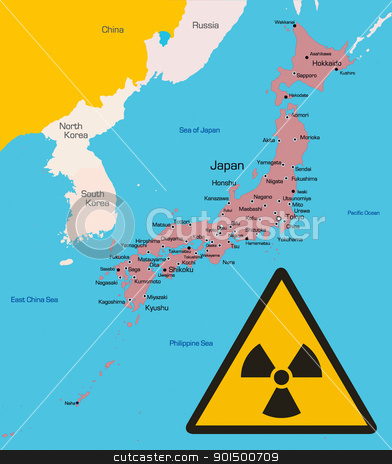 Japan stock photo, vector color map of Japan country with radiation sign. Data sourse: nasa web site. by olinchuk