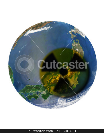 japan catastrophe stock photo, japan catastrophe: japan country at earth with radiation sign by olinchuk