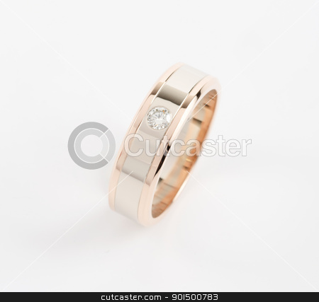 gold ring stock photo, gold ring with gem on a white by olinchuk