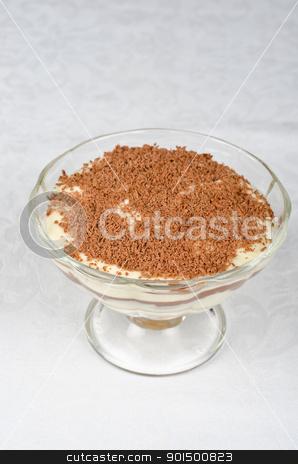 tiramisu stock photo, Classic italian dessert- tiramisu with mascarpone cheese, cookies and liqueur by olinchuk