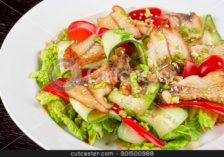 Salad of smoked eel stock photo, Salad of smoked eel, lettuce,Chinese cabbage and vegetables by olinchuk