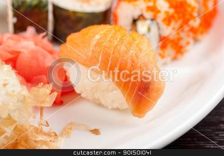 sushi set stock photo, closeup photo of japanese sushi set dish by olinchuk