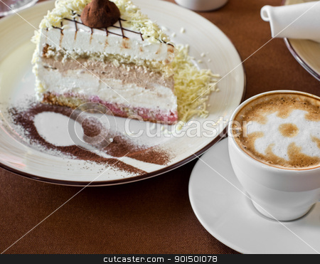 tasty cake stock photo, tasty cake at plate closeup with coffee cup by olinchuk