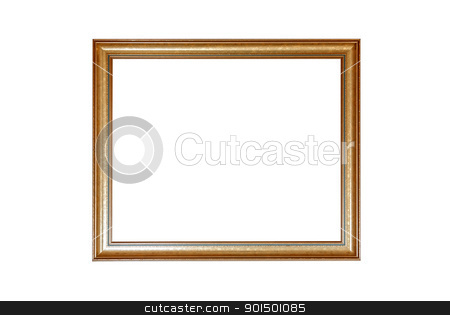 gold antique frame stock photo, gold antique frame isolated on white background by olinchuk