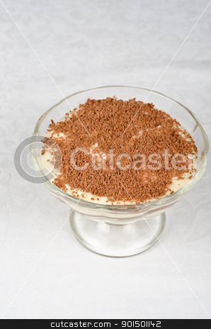 tiramisu stock photo, Classic italian dessert- tiramisu with mascarpone cheese, cookies and liqueur by olinchuk