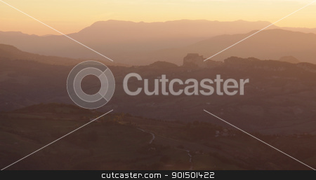 San Marino at Dusk stock photo, The rolling hills of San Marino at dusk shot from Monte Titano. ( the city of San Marino )  by Chris Hill