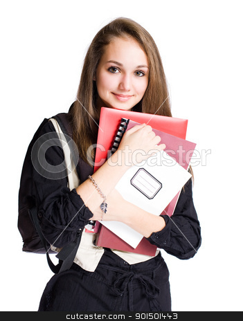 Cute young student girl. stock photo, Portrait of a cute young brunette student girl with exercise books. by exvivo