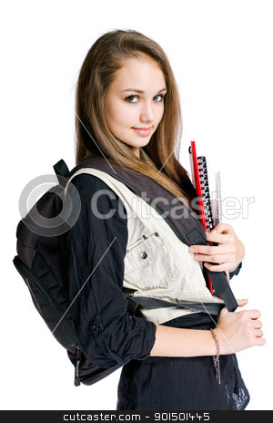 Beautiful student girl. stock photo, Portrait of a beautiful student girl with black backpack and books. by exvivo