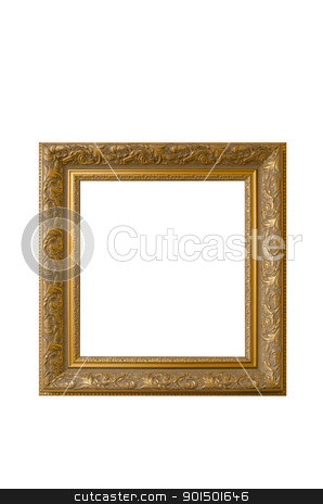 Picture gold frame stock photo, Picture gold frame with a decorative pattern on a white by olinchuk