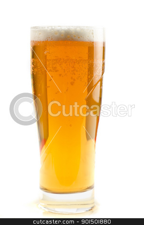 Glass of beer stock photo, Glass of beer isolated on a white background by olinchuk