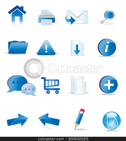 blue icons set  stock vector clipart, A collection of icons useful for website by monicaodo