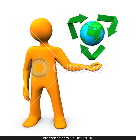 Ecology stock photo, Orange cartoon character with green ecology symbol. by Alexander Limbach