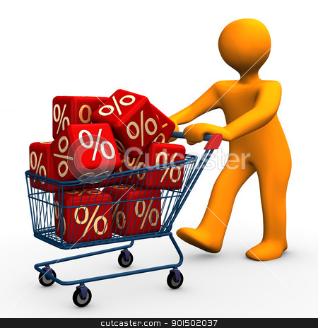 Bargain stock photo, Orange cartoon character goes shopping and saves costs. by Alexander Limbach