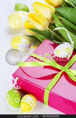 easter eggs with yellow tulip flowers and gift box stock photo, easter eggs with yellow tulip flowers and gift box  isolated on white background by klenova